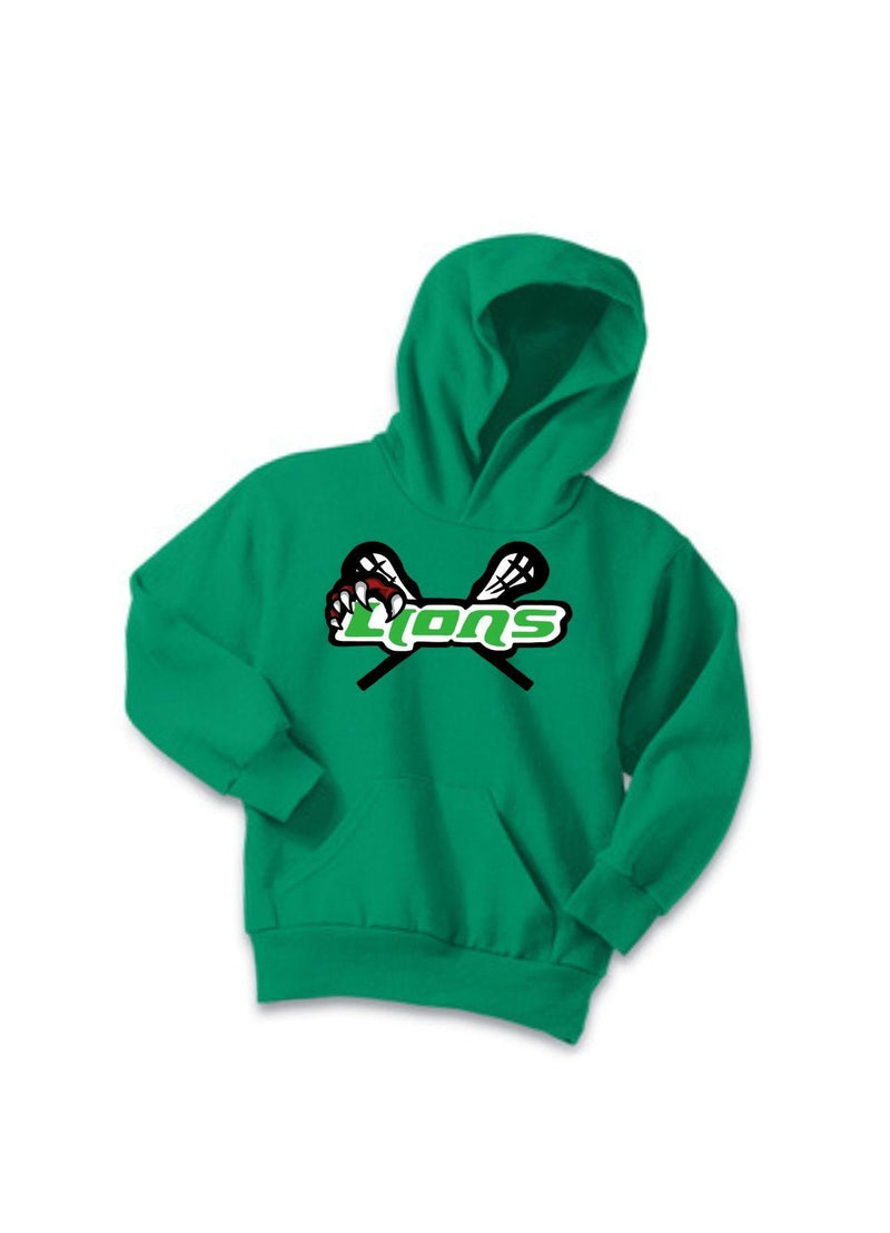 SFYTH Port & Company® Youth Core Fleece Pullover Hooded Sweatshirt - Kelly - Top String Lacrosse