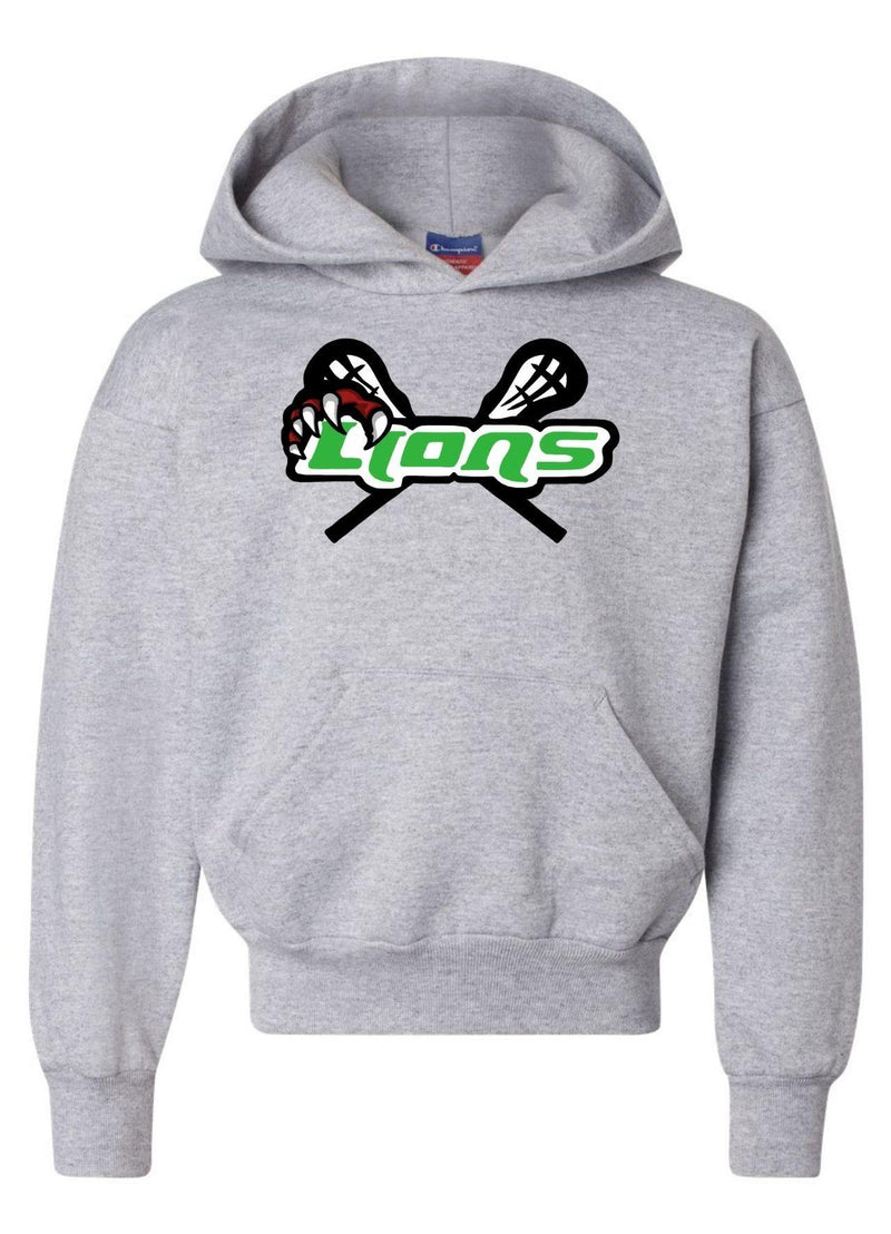 SFYTH Champion - Double Dry Eco® Youth Hooded Sweatshirt - Grey - Top String Lacrosse