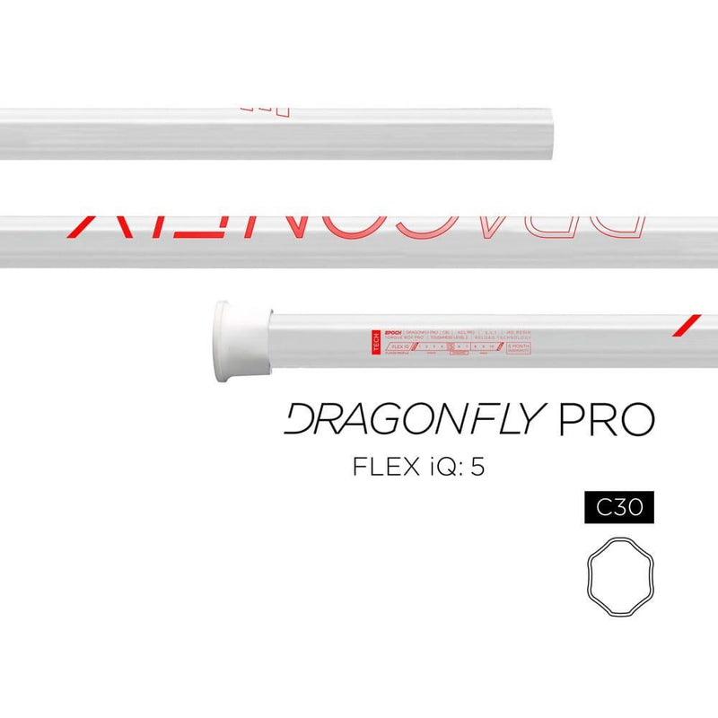 Epoch Dragonfly Pro C30 iQ5 Techo-Color LE Attack Lacrosse Shaft - White/Red - Top String Lacrosse
