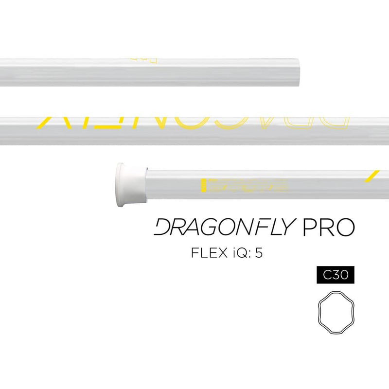 Epoch Dragonfly Pro C30 iQ5 Techo-Color LE Attack Lacrosse Shaft - White/ Yellow - Top String Lacrosse