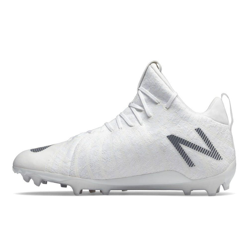 New Balance Burn X2 Mid White Lacrosse Cleats | Top String Lacrosse
