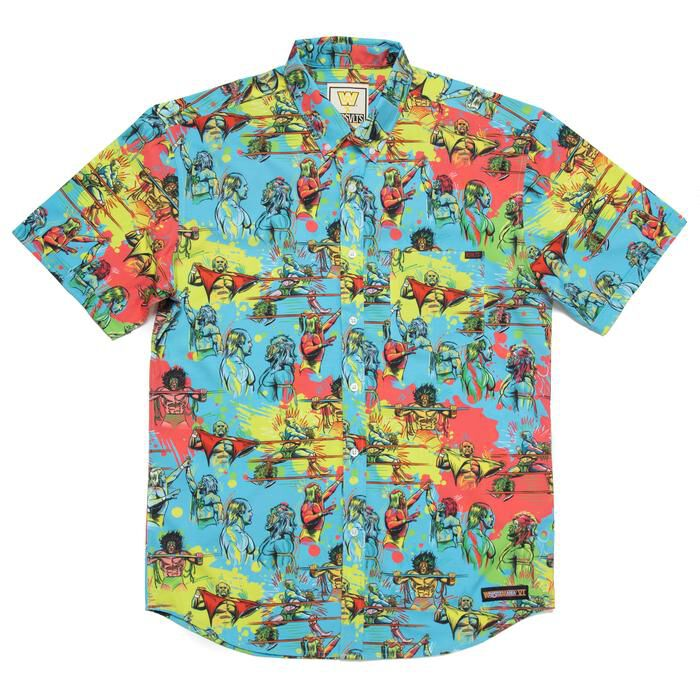 Hulk Hogan vs. Ultimate Warrior RSVLTS Button Down Shirt