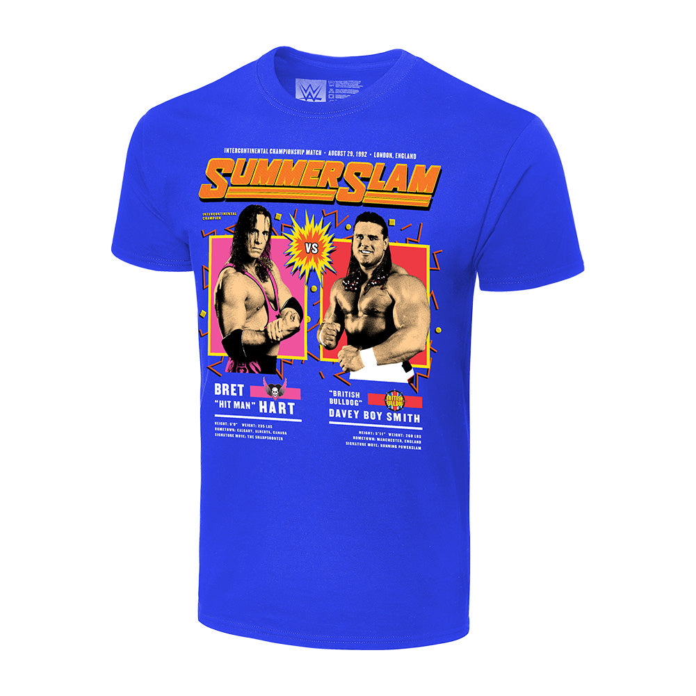 SummerSlam 1992 Bret Hart vs. British Bulldog Matchup T-Shirt