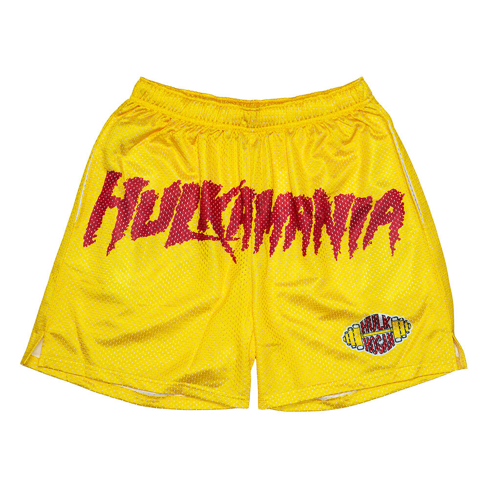 Hulk Hogan Hulkamania Yellow Chalk Line Shorts