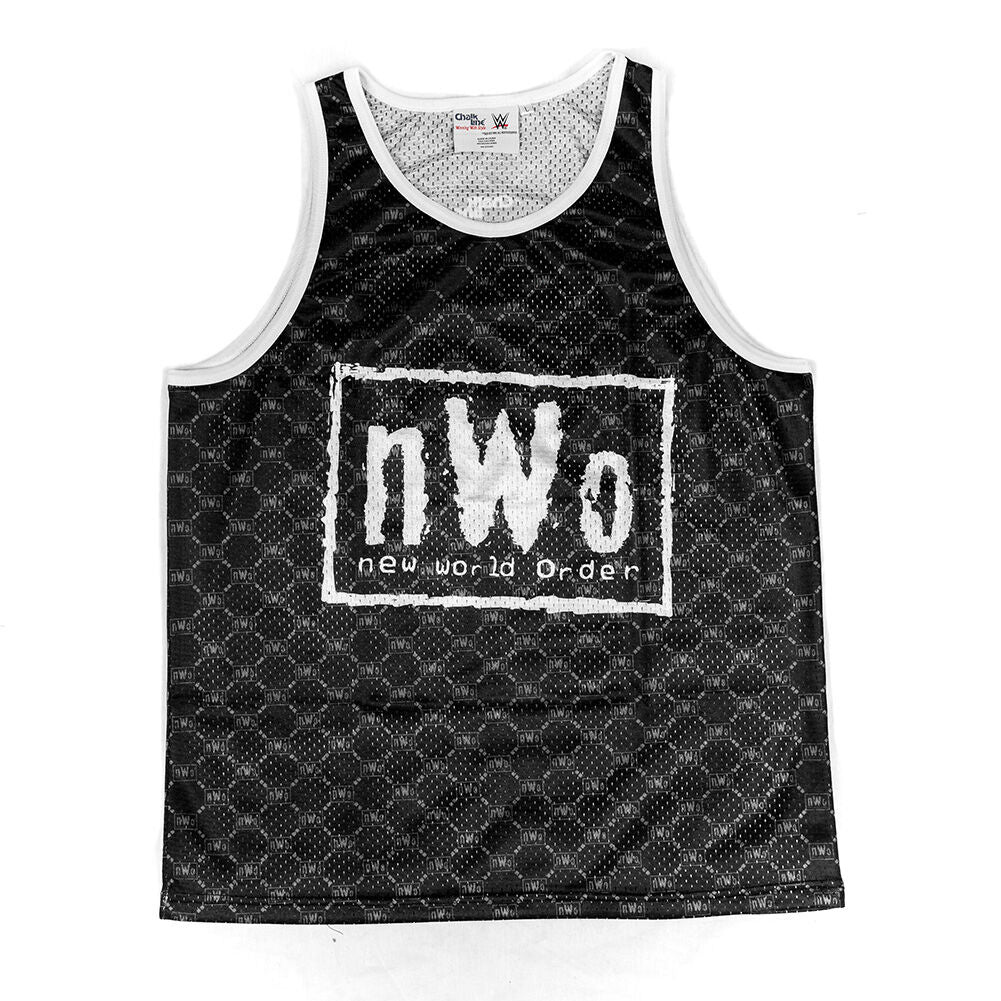 nWo Retro Black & White Chalk Line Tank Top