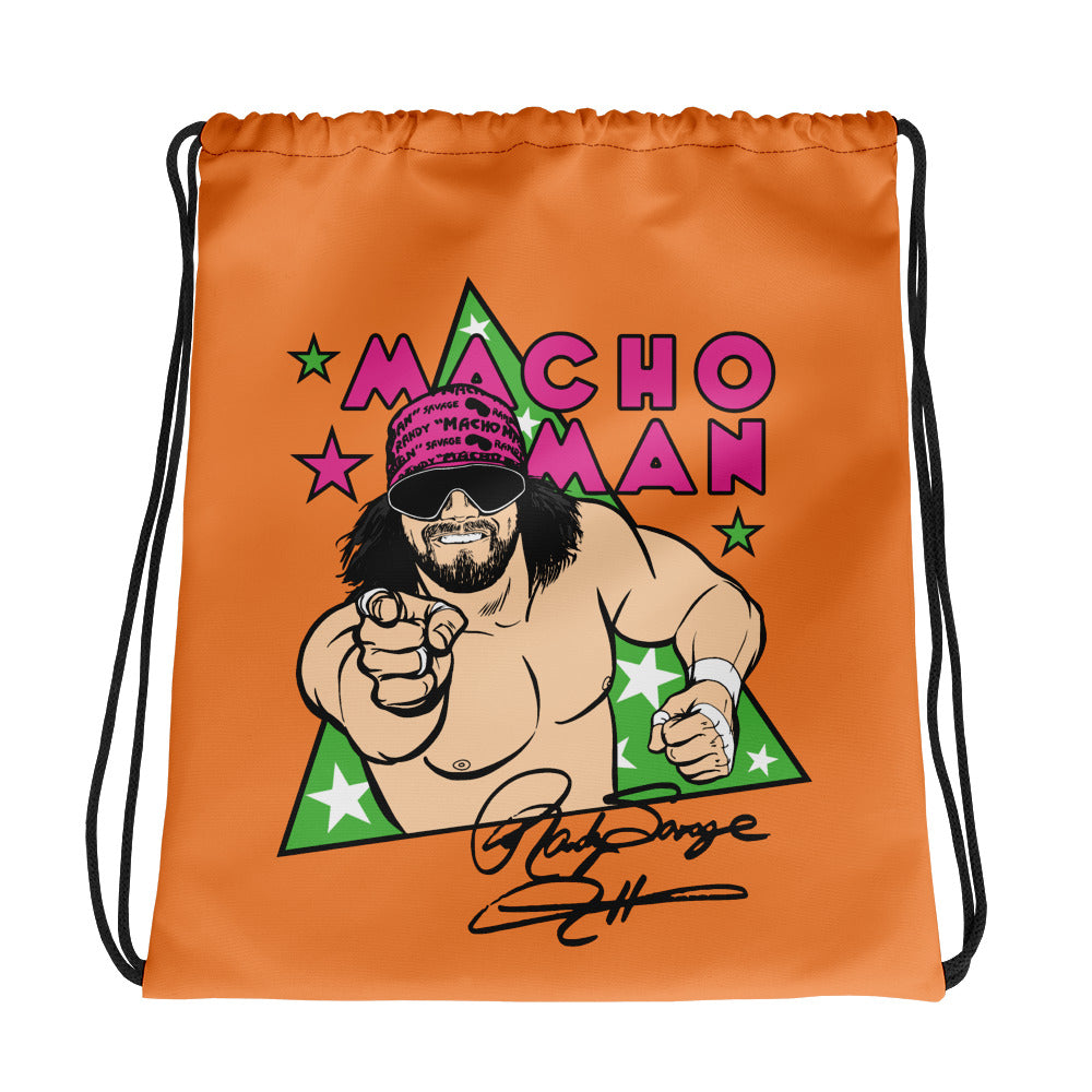 Macho Man Randy Savage Illustrated Drawstring Bag