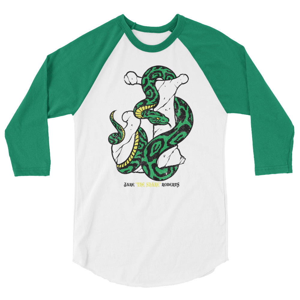 "Jake The Snake Roberts ""Snake & Bone"" 3/4 Sleeve Raglan Shirt"