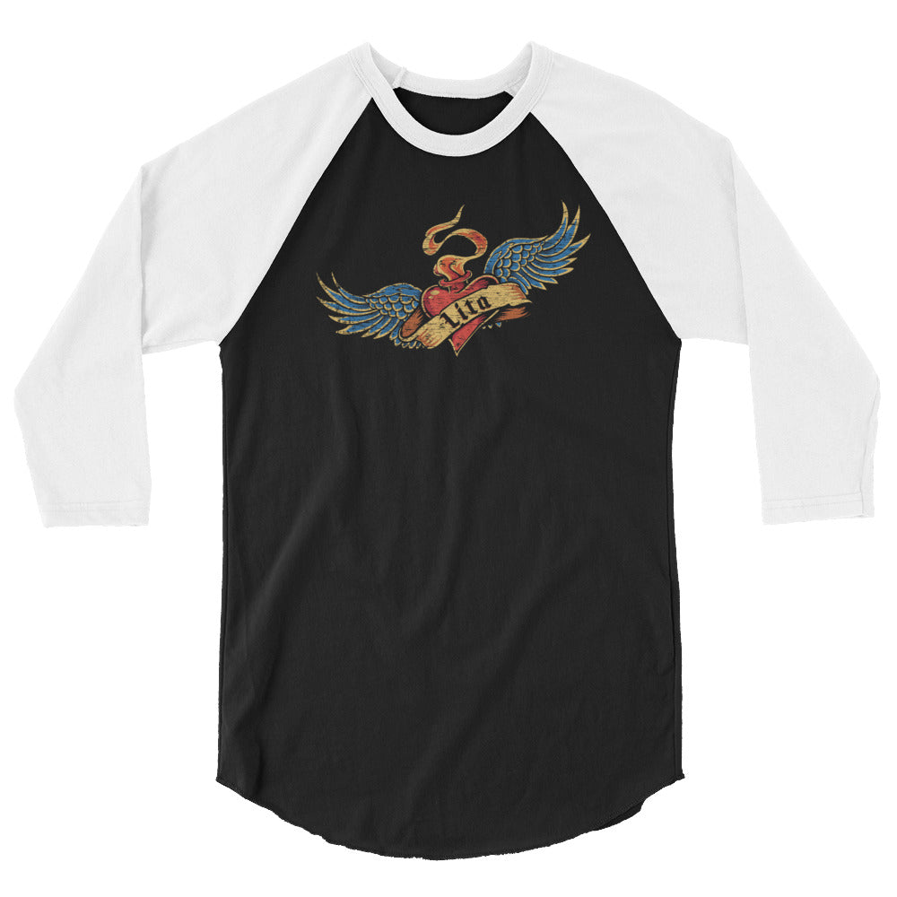 "Lita ""Heart & Wings"" 3/4 Sleeve Raglan Shirt"