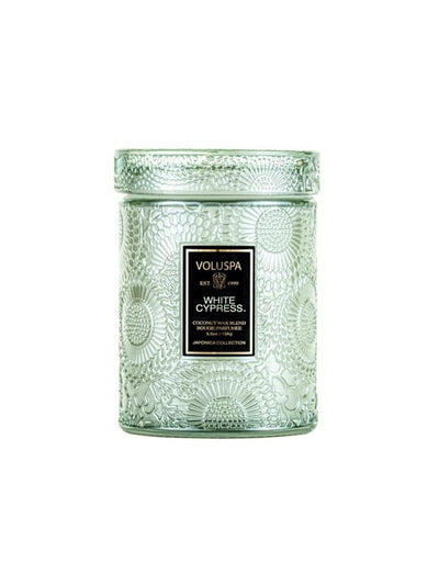 Mini Glass Jar w. Lid - White Cypress