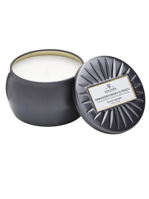 Petite Tin Candle 25 Tim - Makassar Ebony & Peach