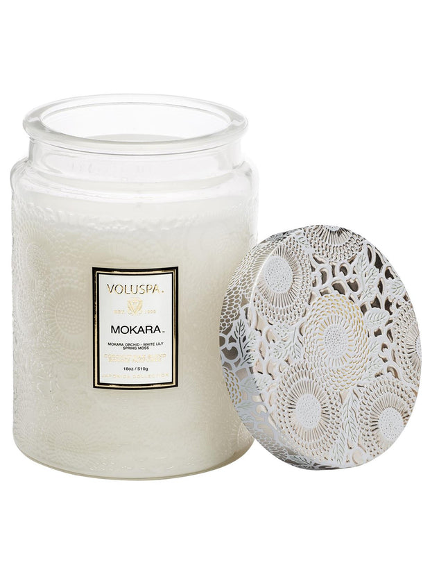 Large Embossed Glass Jar Candle 100 Tim - Mokara