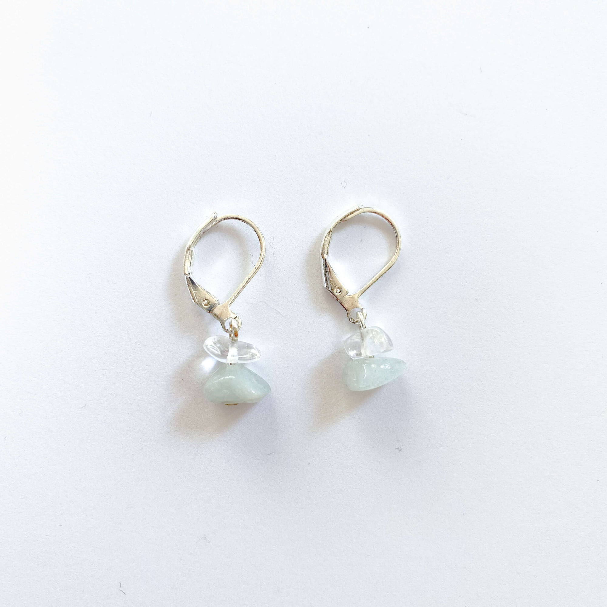 Clear Quartz & Jade Sterling Silver Hoop Earrings