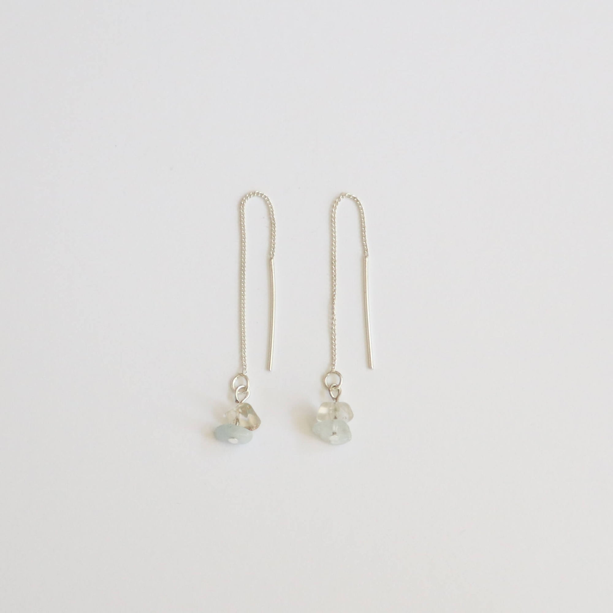 Clear Quartz & Jade Threader Earrings