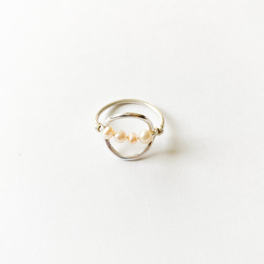 Pearl Sterling Silver Halo Ring