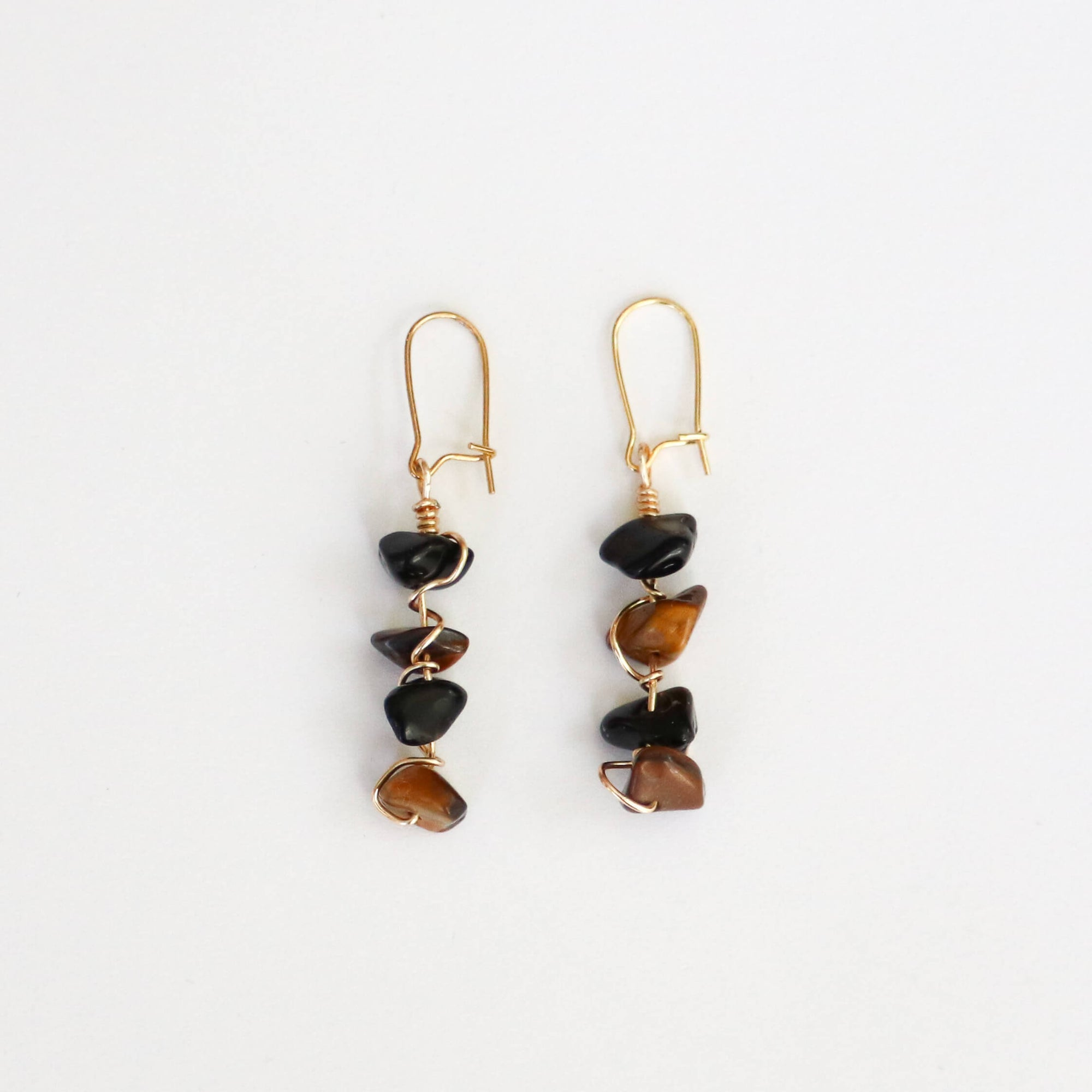 Obsidian & Tiger's Eye Dangle Earrings