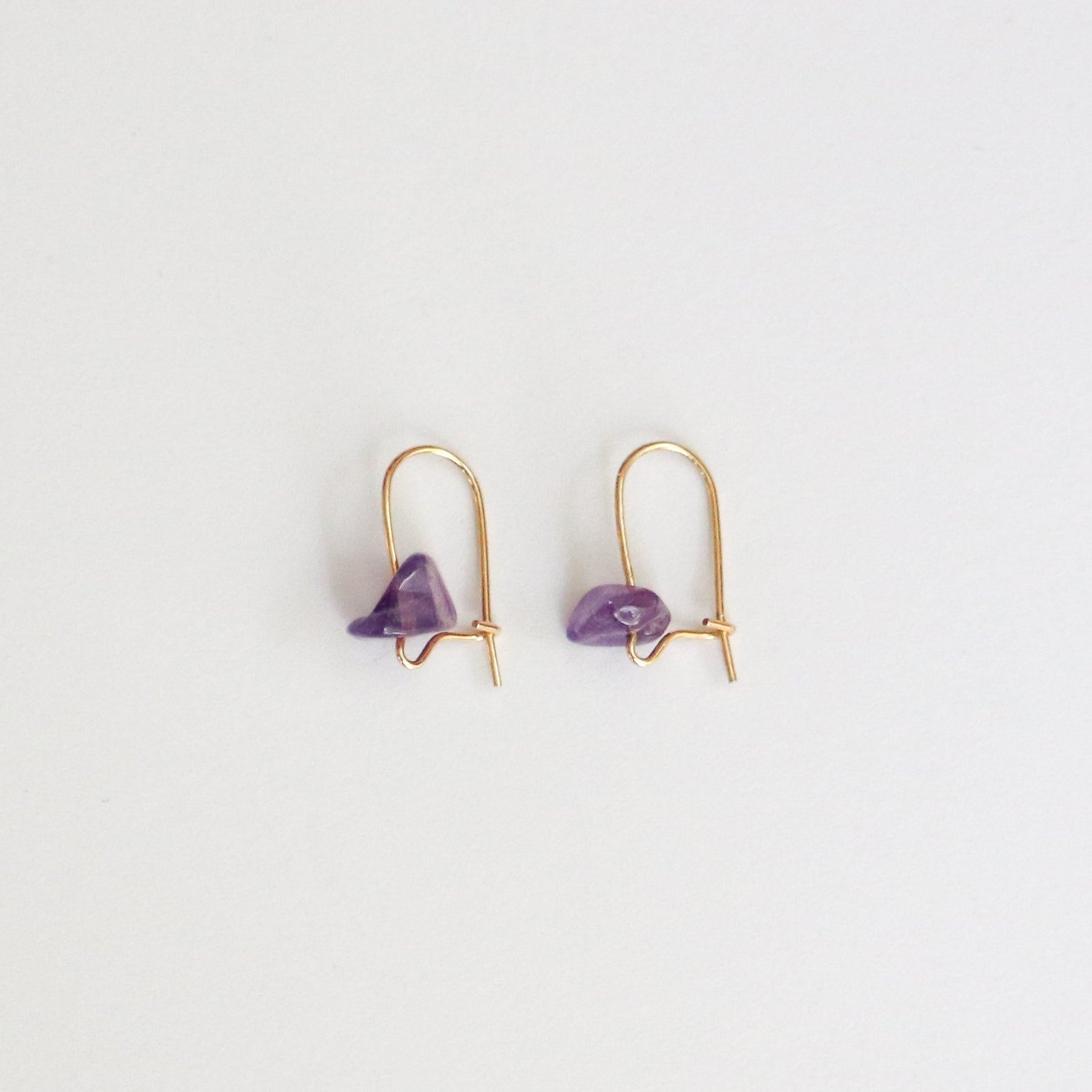 Amethyst Small Gold Hoop Earrings