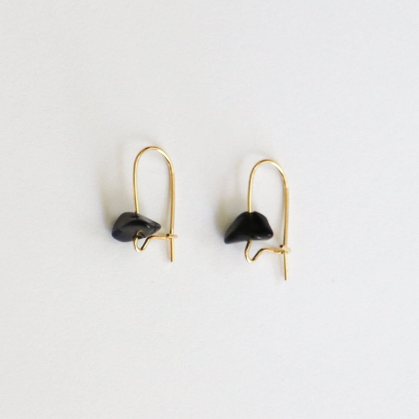 Obsidian Gold Hoop Earrings