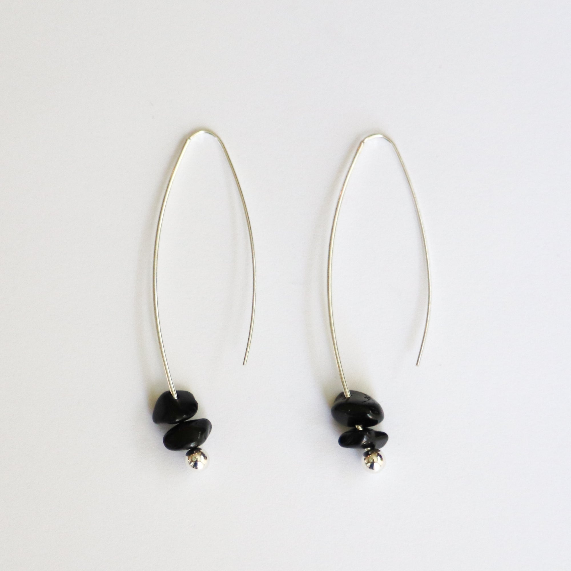 Obsidian Sterling Silver Drop Earrings