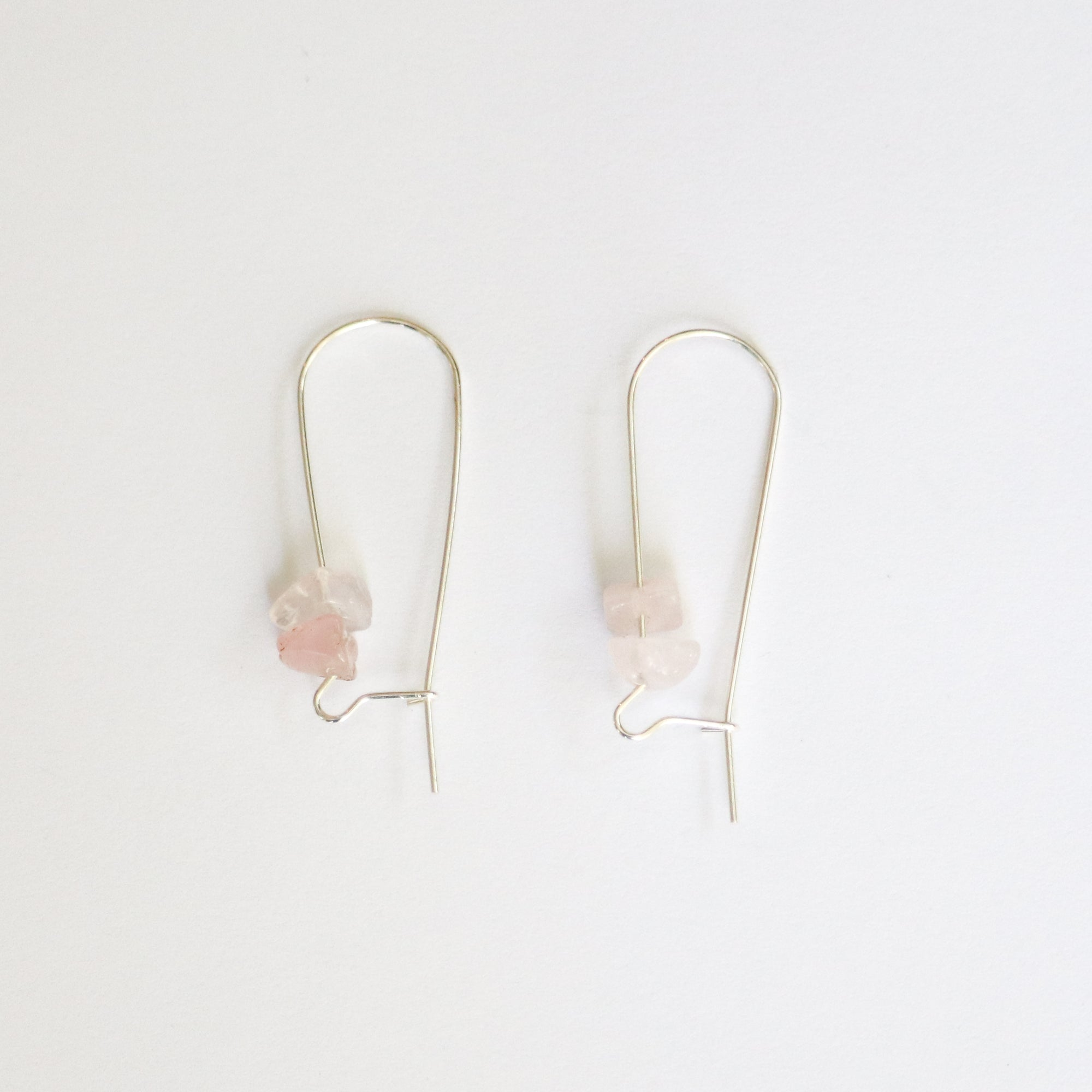 Rose Quartz Sterling Silver Hoop Earrings