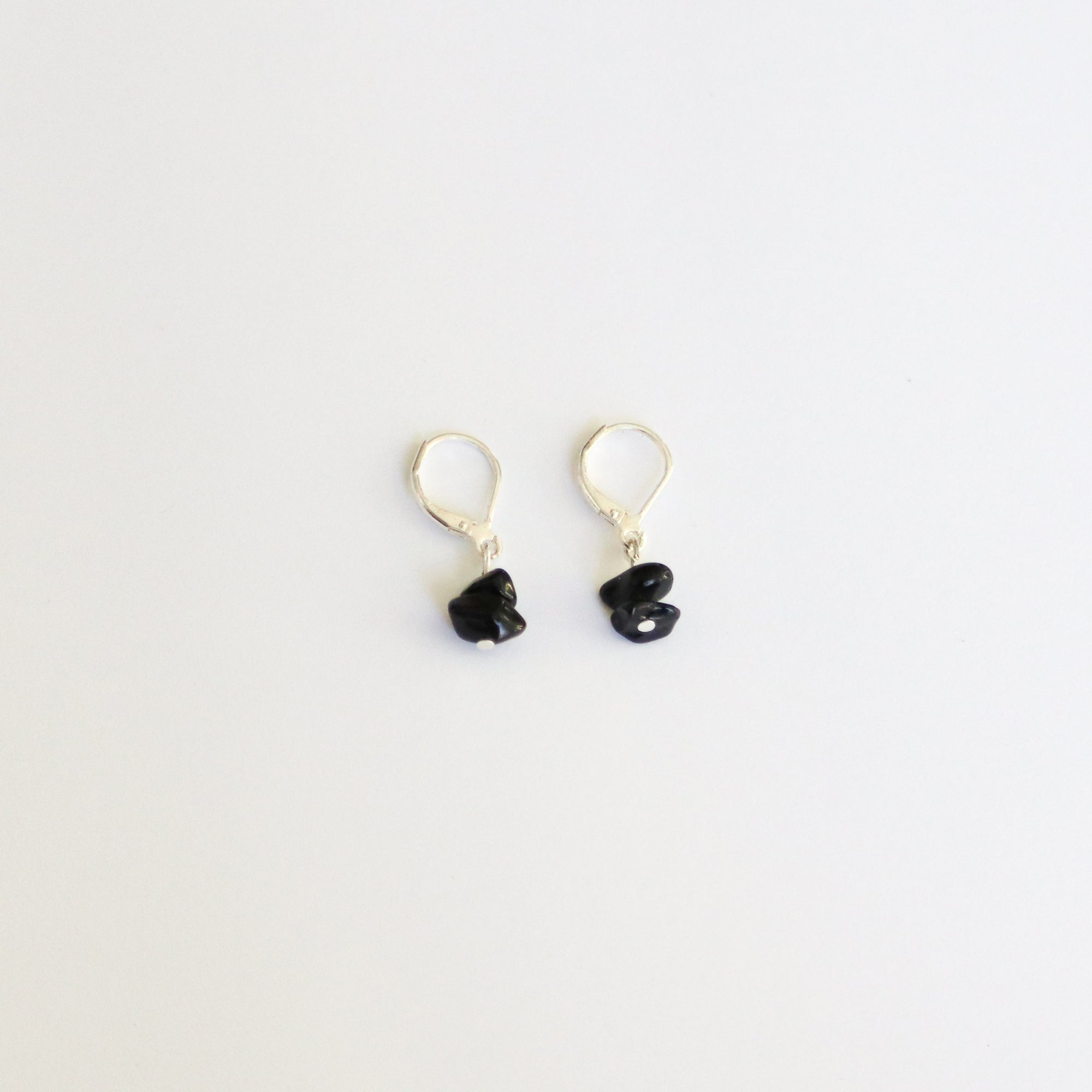 Obsidian Sterling Silver Hoop Earrings