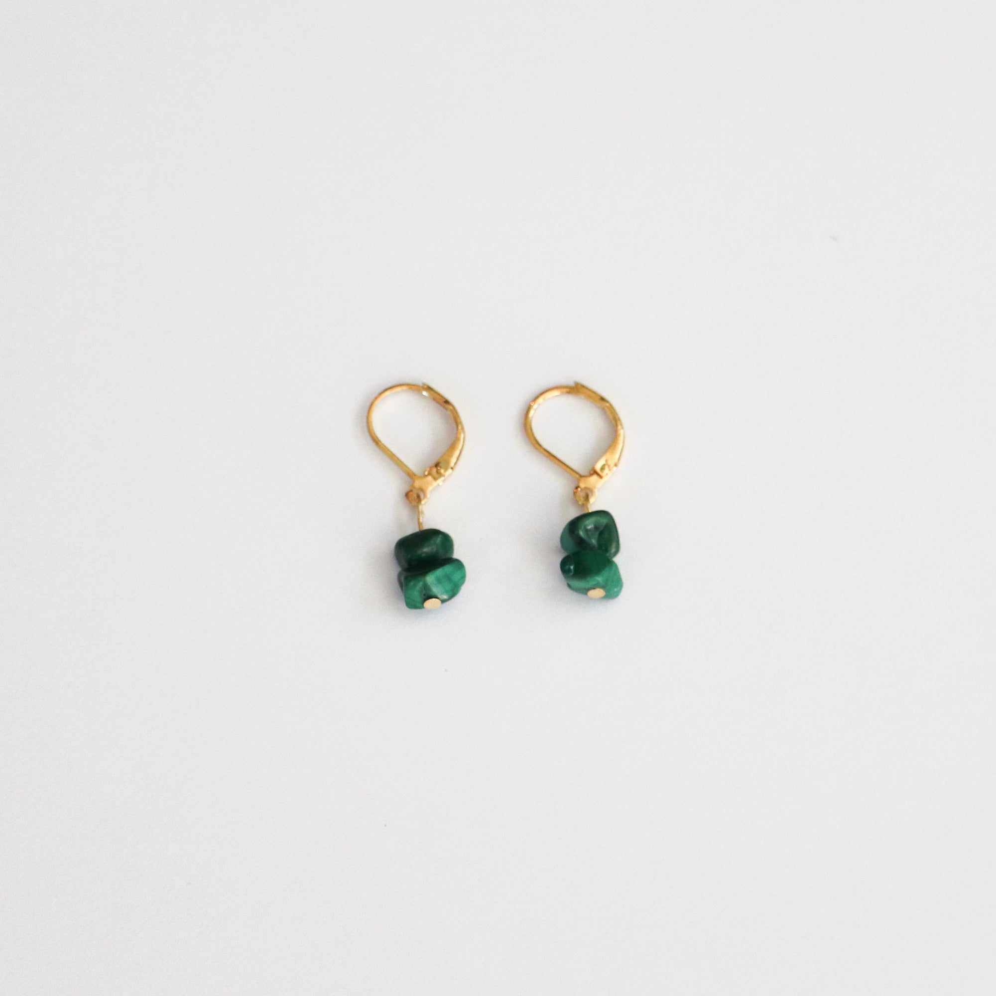 Malachite Gold Hoop Earrings