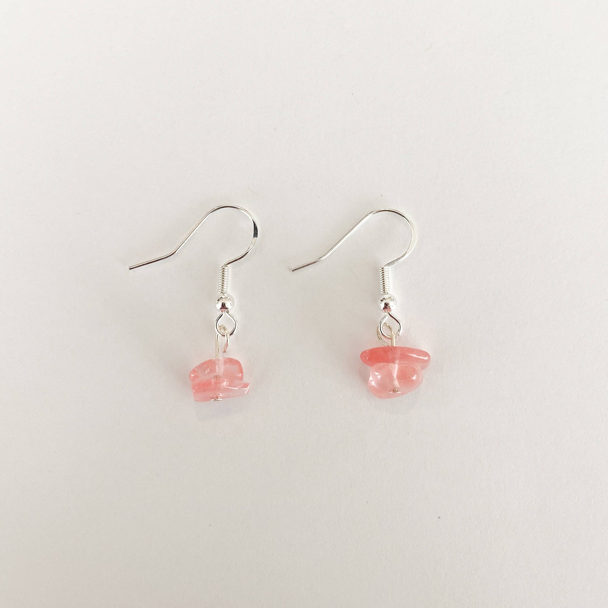Strawberry Quartz Sterling Silver Hoop Earrings