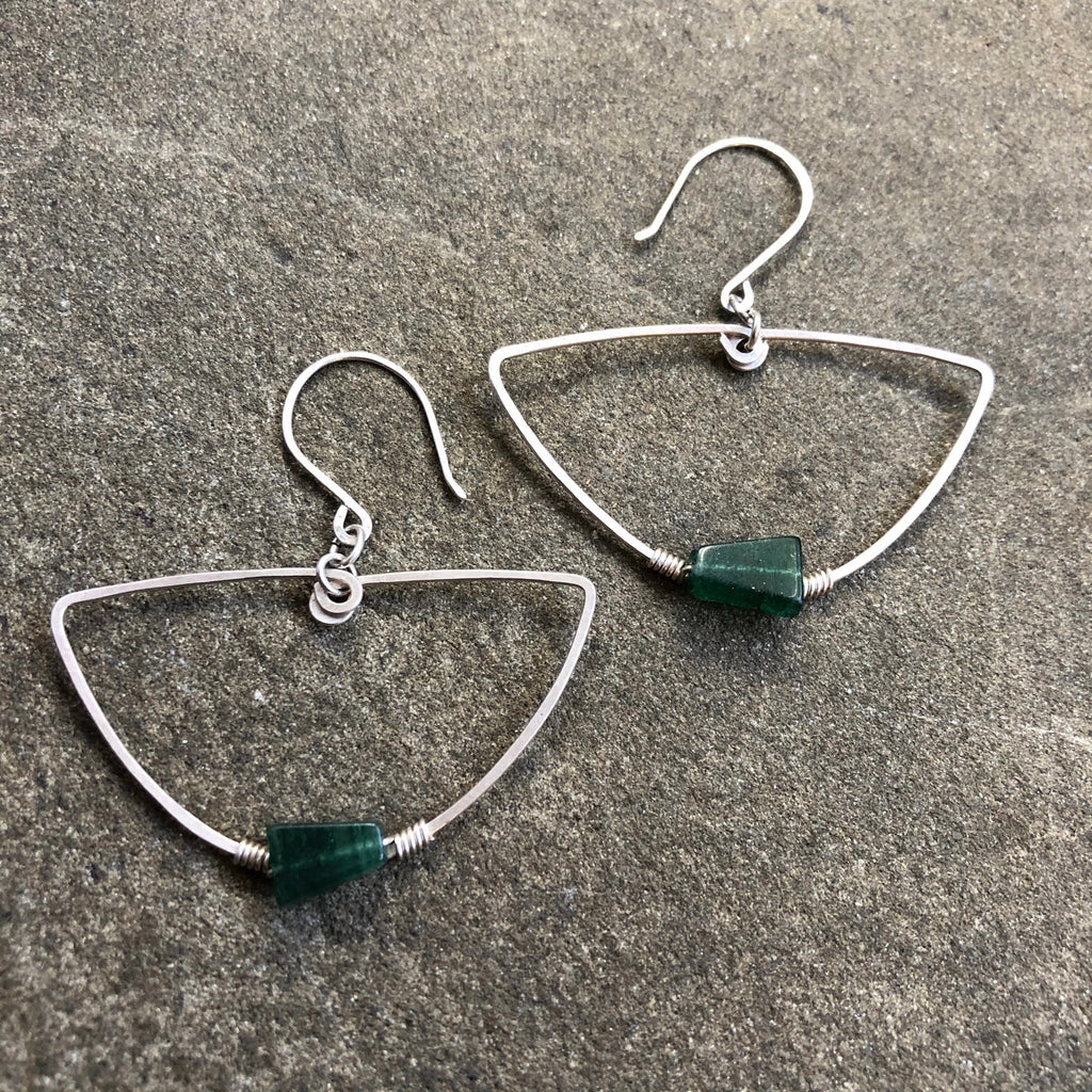 Sterling + Emerald Aventurine Earrings