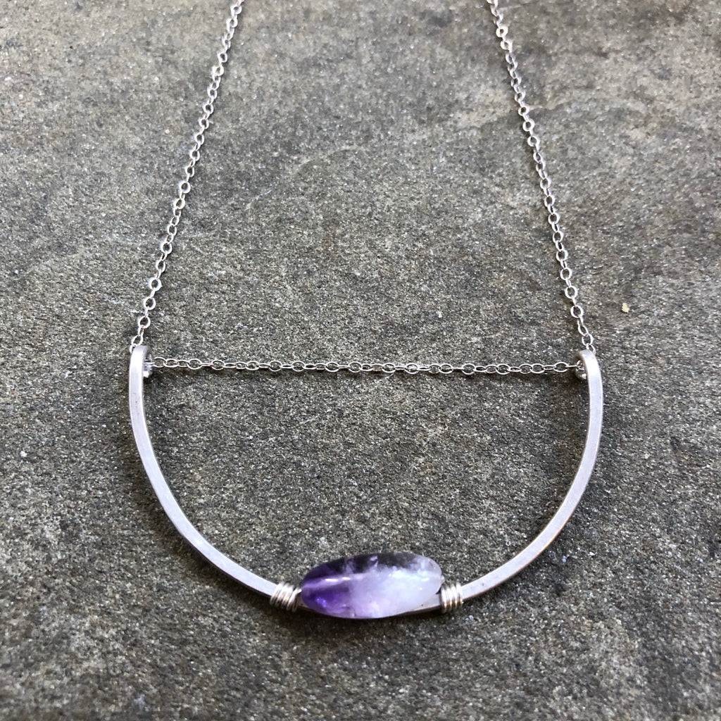 Large Silver Crescent || Amethyst