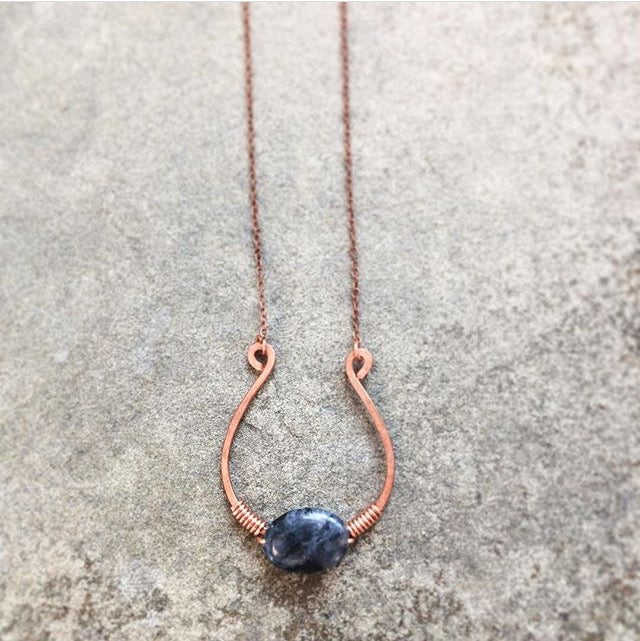 Copper Horseshoe Necklace || Labradorite