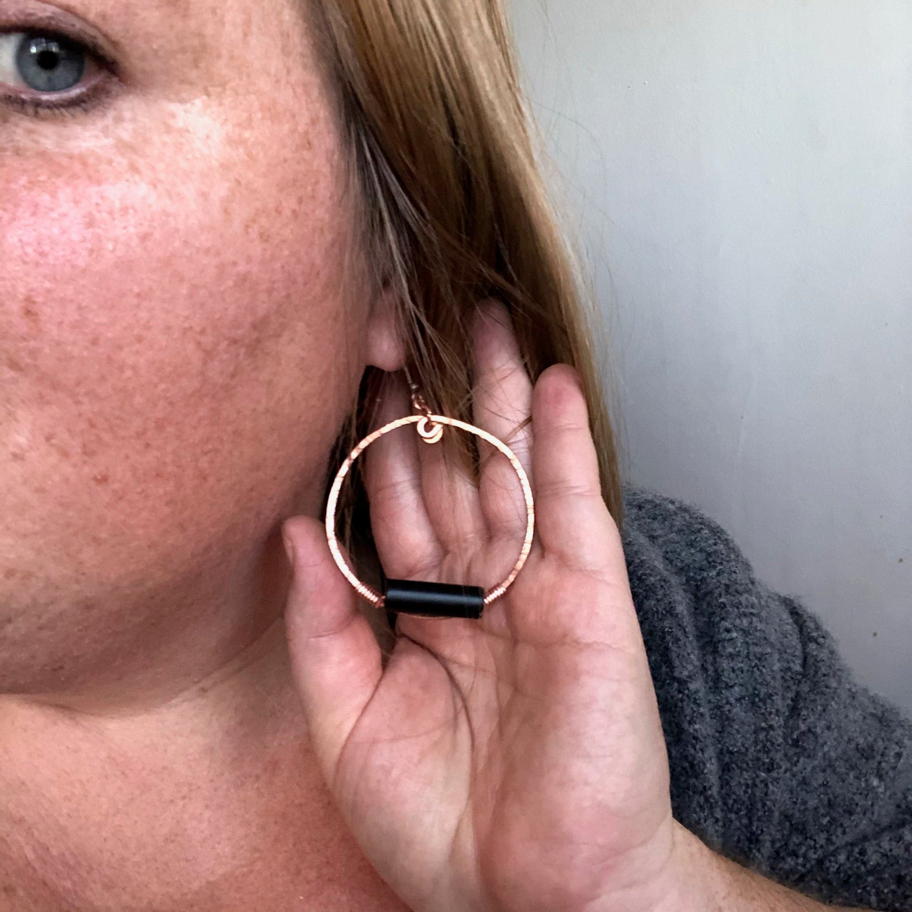 Onyx Copper Hoop Earrings