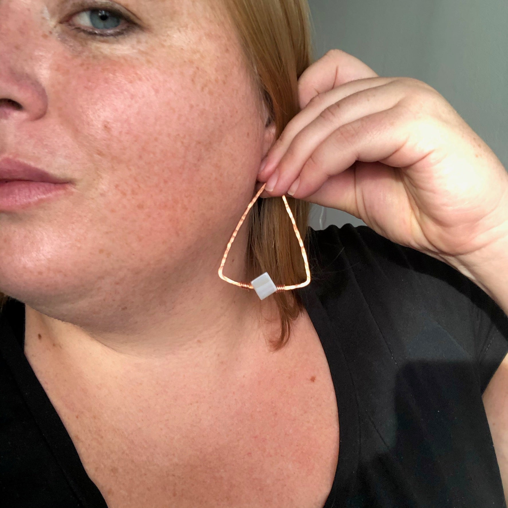 Grey Lace Agate Pyramid Earrings