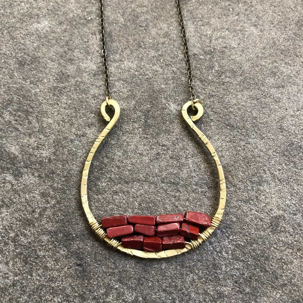 Brass Woven Vessel Necklace || Red Jasper
