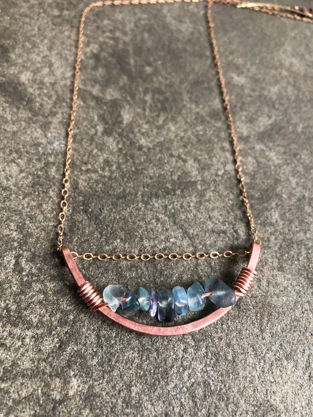 Arc of Matte Copper with Fluorite Crystal