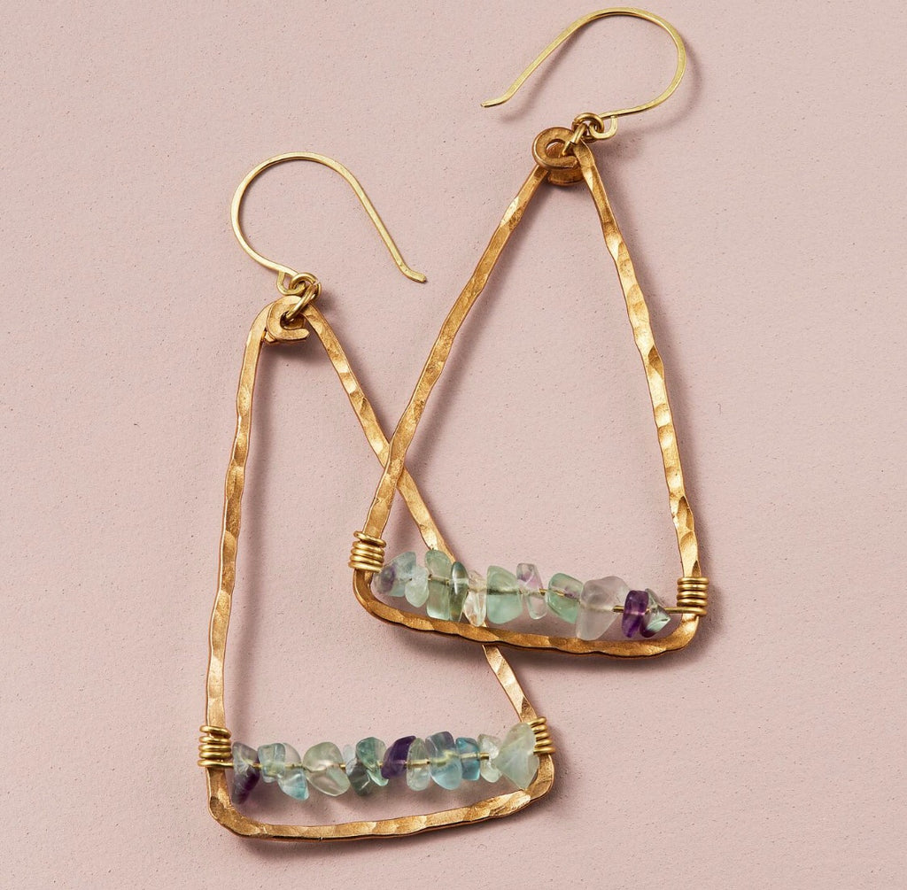 Fluorite + Brass Triangle Earrings