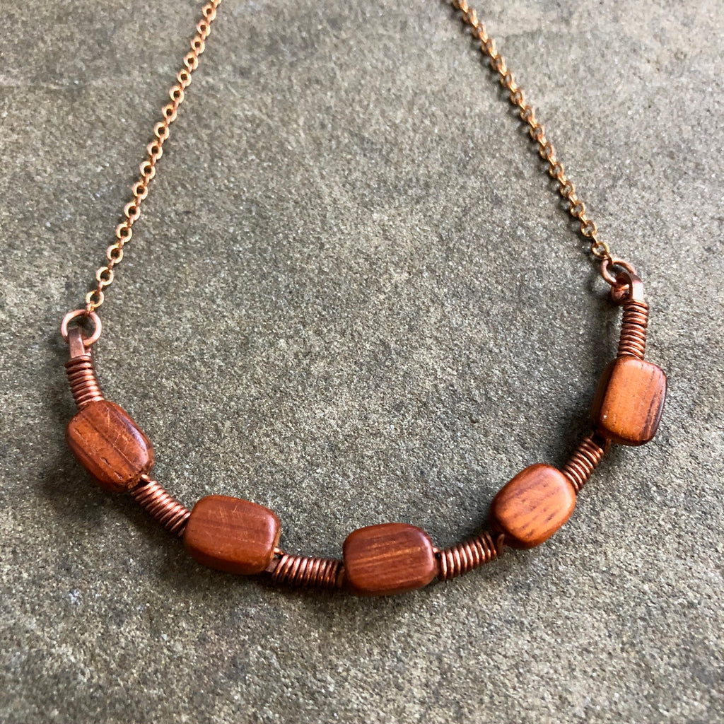 Woven Vintage Wood on a Copper Arc Necklace