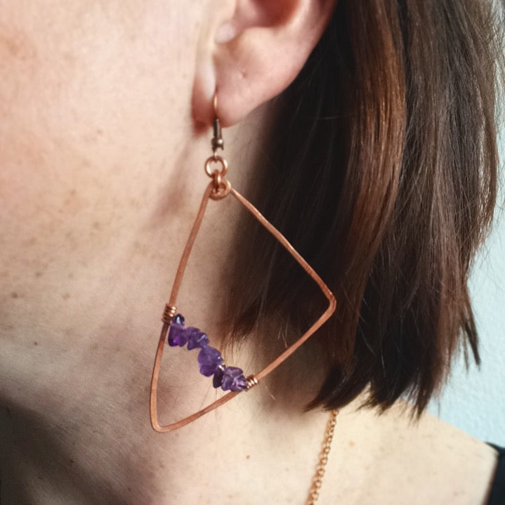 Asymmetrical Amethyst Triangle Earrings