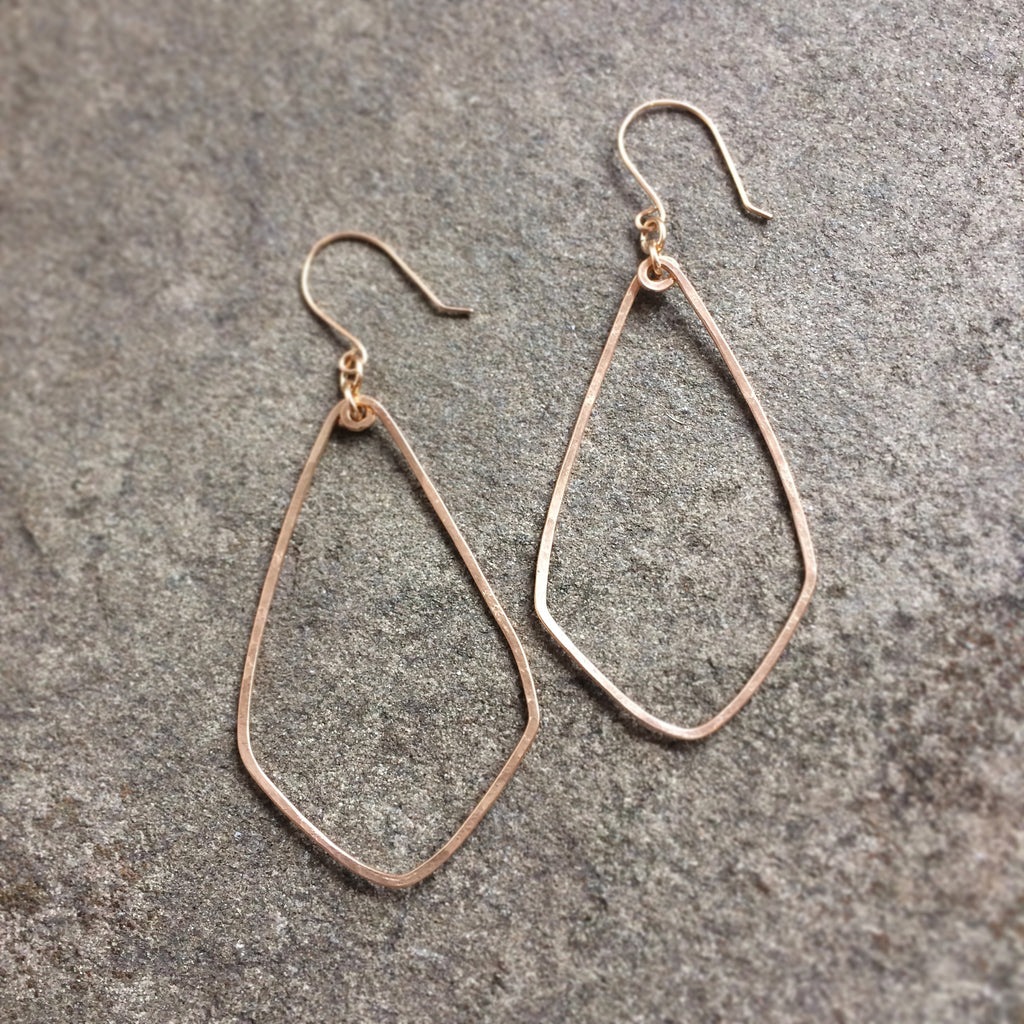 Gold Faceted Hoop Earrings