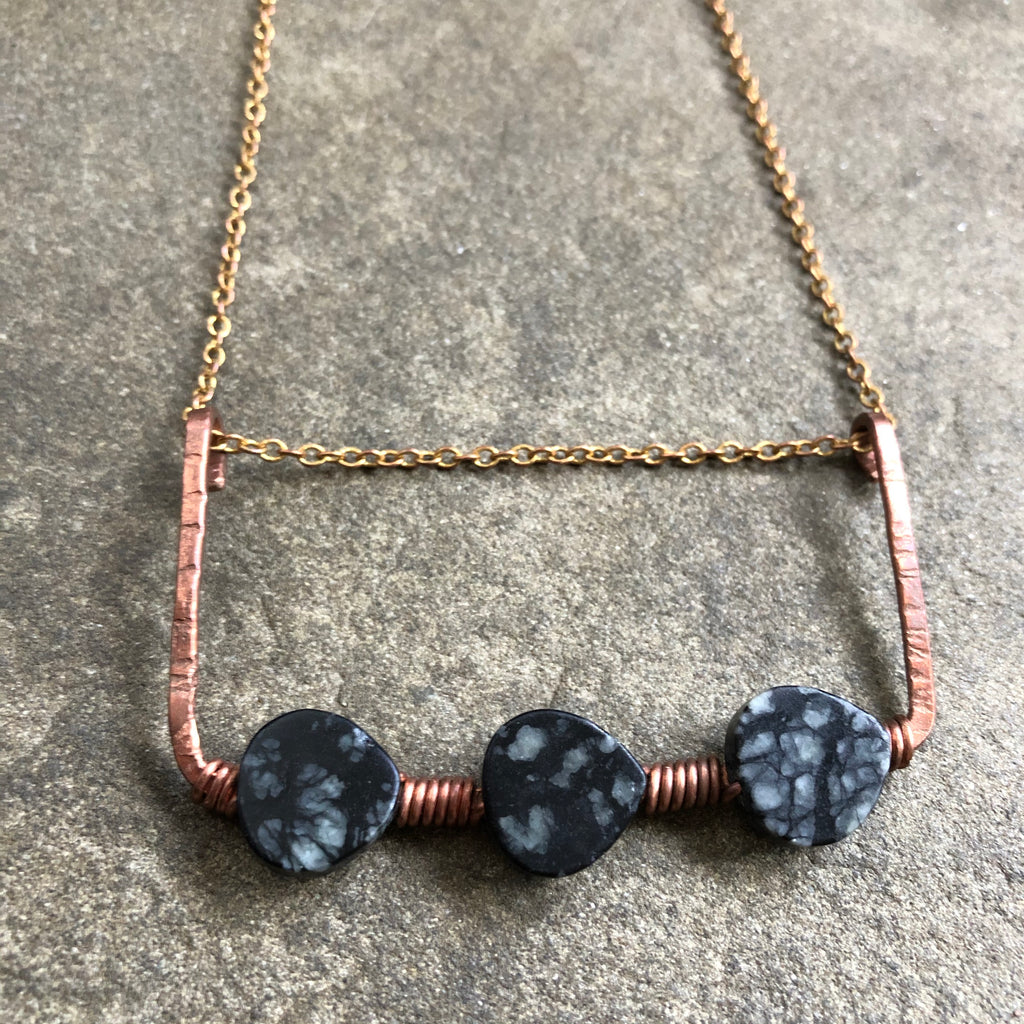 Copper Statement Necklace with woven Black Jasper