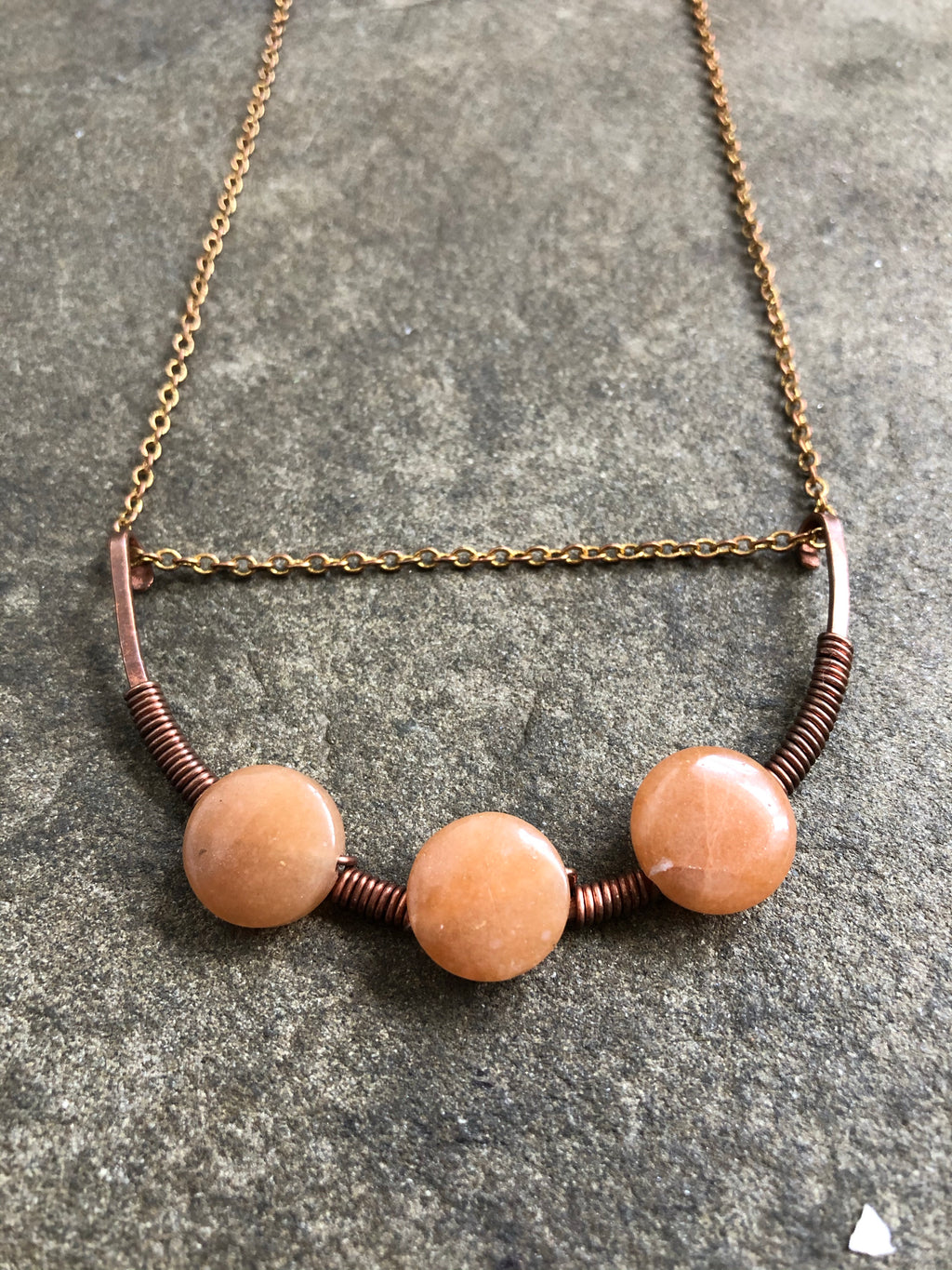 Arc of Copper with woven Orange Calcite