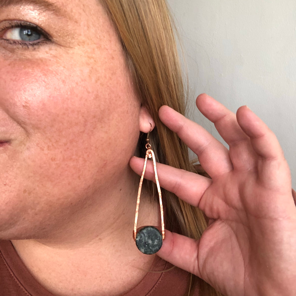 Marble  + Copper Elongated Triangle Earrings
