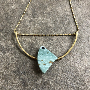 Asymmetrical Marble + Brass Arc Necklace