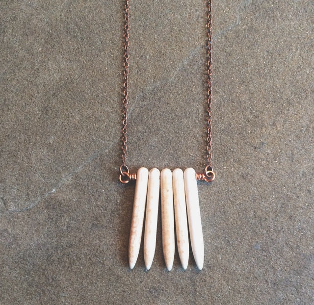 Calming Natural Howlite Spike Necklace