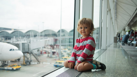 A hug works wonders when travelling with toddler
