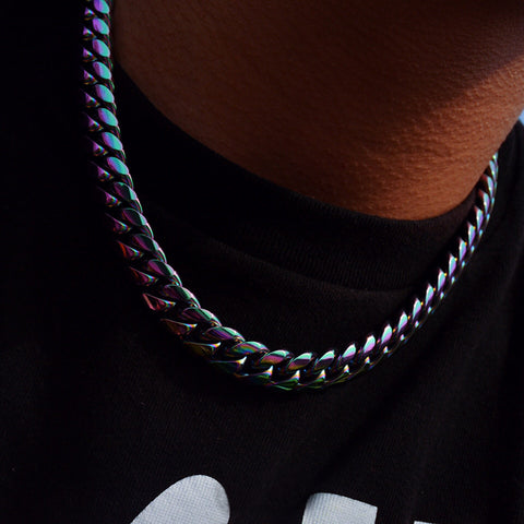 12MM Magic Color Cuban Necklace