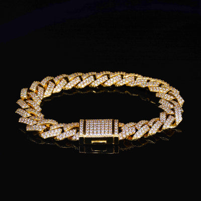 15MM Rhombus Diamond Cuban Bracelet(Gold )