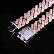 15MM 2Tone Rhombus Diamond Cuban Necklace