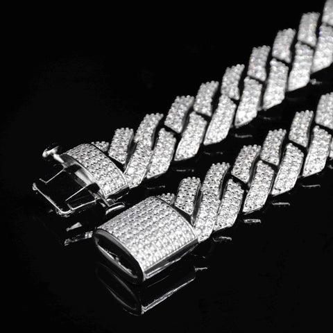 15MM Rhombus Diamond Cuban Necklace (White Gold )