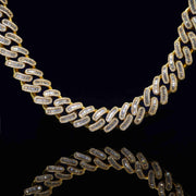 18MM Mixed Mosaic Cuban Necklace (Gold)