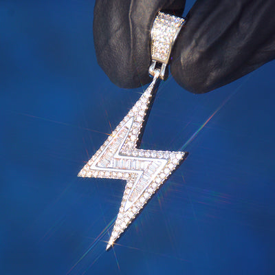 Lightning Diamond Pendant (White Gold)