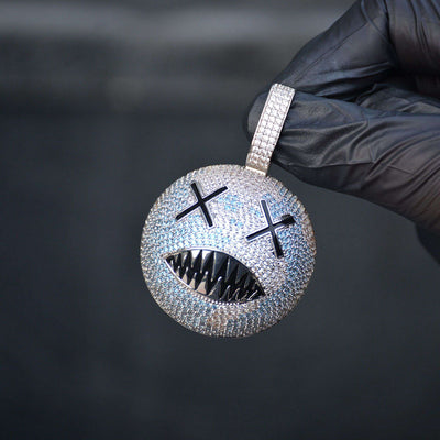 Devil Smiley Face Diamond Pendant (White Gold)
